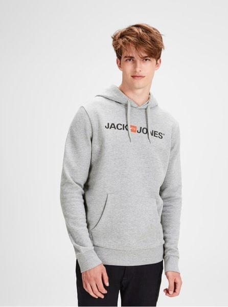 Jack Jones šedá žíhaná mikina s potiskem a kapucí Jack   Jones L 82ee180863