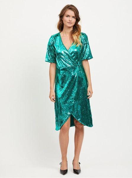 VILA zelené šaty s flitry Lilja S