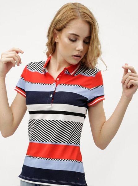 Tommy Hilfiger modro-červené dámské pruhované polo tričko L