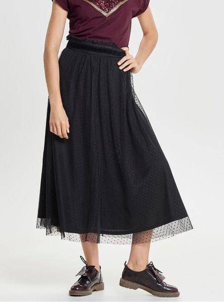 ONLY černá puntíkovaná tylová midi sukně Rose S
