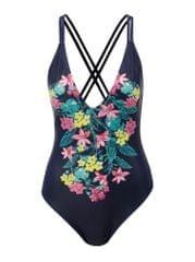 Dorothy Perkins tmavě modré jednodílné květované plavky Beach