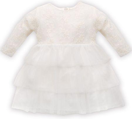 PINOKIO dekliška obleka s čipko, 68, bež