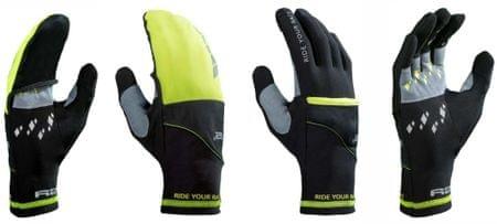 R2 rokavice Cover, črne, Neon rumene, 10