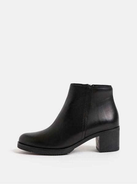 OJJU černé kožené kotníkové boty na podpatku 36 b7eefec9a8