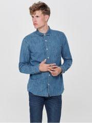 ONLY SONS modrá džínová slim košile Kade dfef5186a3