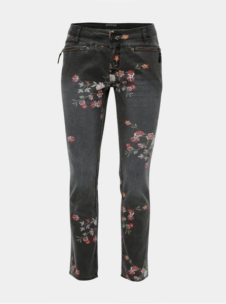 Garcia Jeans šedé dámské slim fit džíny s květinovým potiskem L 7ddcb7c695