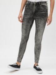Jacqueline de Yong šedé skinny džíny s vyšisovaným efektem a vysokým pasem  Gaby fdb502886f