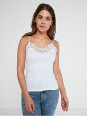 Pieces bílá bezešvá košilka na ramínka s krajkovými detaily Toloa