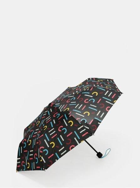 Esprit černý vzorovaný skládací deštník Super Mini