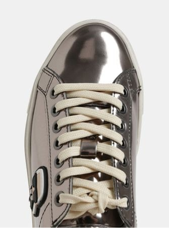 kožené tenisky ve stříbrné barvě s metalickými odlesky a gumovou aplikací 37 68ee078704
