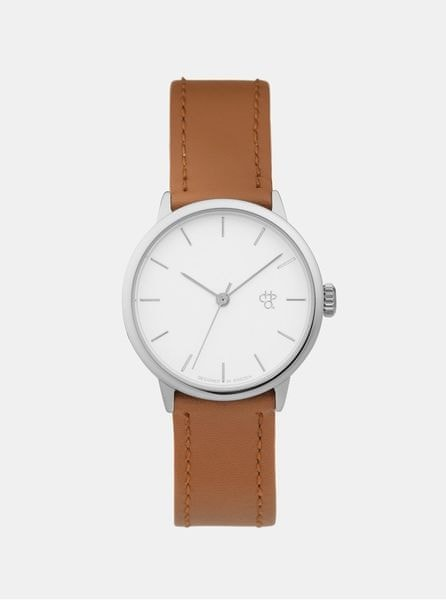 CHPO dámské hodinky s hnědým páskem z veganské kůže Khorshid Mini Silver 4e5c552162a