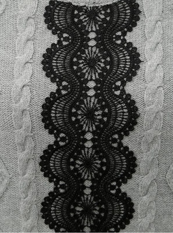 a4fa1e20722 Dorothy Perkins Tall šedý svetr s krajkovým detailem XXL - Parametry ...
