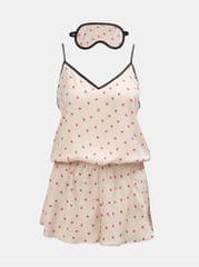 DKNY sada vzorovaného pyžamového overalu a škrabošky ve světle růžové barvě