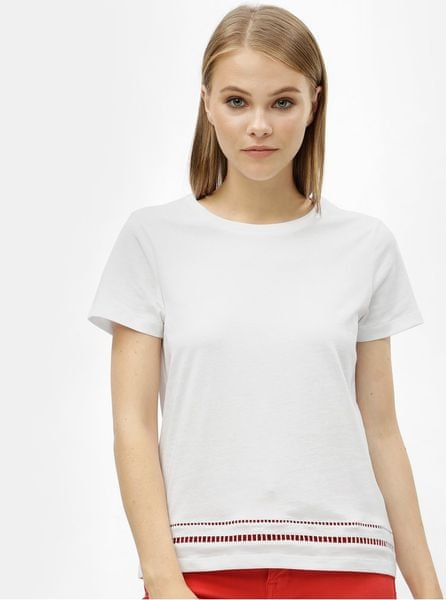 Tommy Hilfiger bílé dámské tričko s děrovaným vzorem Dechelle XL