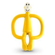 Matchstick Monkey grizalo z masažno zobno ščetko, rumeno