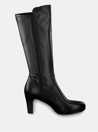 Tamaris černé kožené kozačky na vysokém podpatku 40  aceb9c1605
