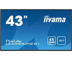 "iiyama LED LCD informacijski monitor ProLite LE4340UHS-B1, AMVA3, VGA/DVI/HDMI, 107,9 cm (42,5""), črn"