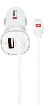 Skross USB Car Charger & MicroUSB töltő adapter, beépített kábel + 1× USB kimenet, DC29