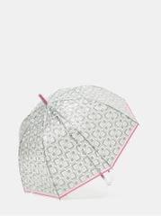 Rainy Seasons transparentní vystřelovací deštník s růžovým lemem