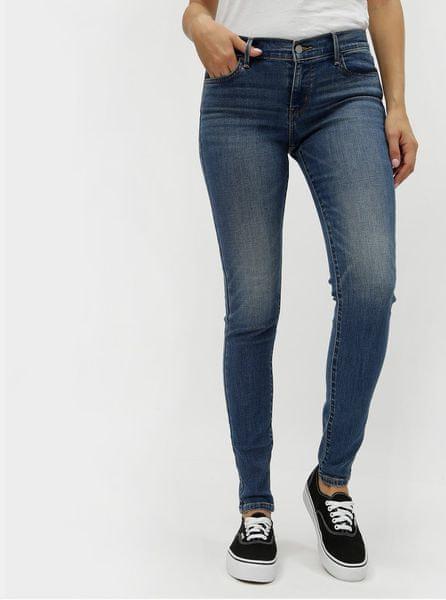 Levis modré dámské super skinny džíny s vyšisovaným efektem 710® Rain Check M