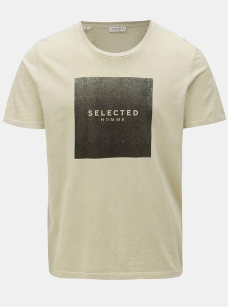 béžové tričko s potiskem S