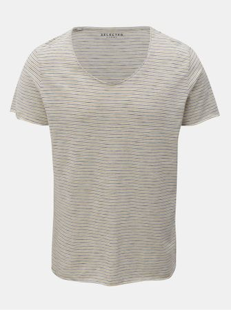 Selected Homme žluto-krémové pruhované basic tričko s krátkým rukávem Merce XL