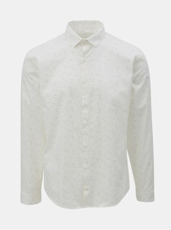 11403146138 Lindbergh bílá vzorovaná košile s dlouhým rukávem XL