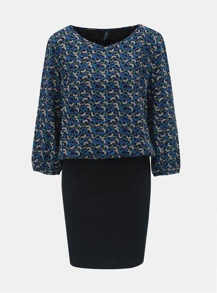 Tranquillo Tranquillo černo-modré vzorované šaty s 3 4 rukávem Macha L 05e2d89553