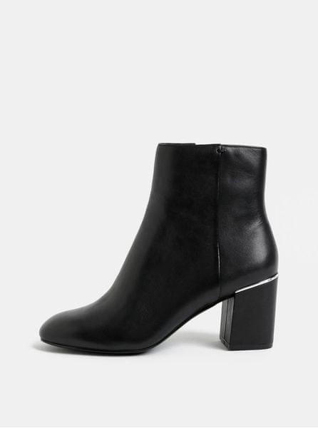 ALDO černé dámské kožené kotníkové boty na podpatku 37