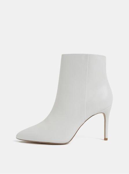 ALDO bílé kožené kotníkové boty na jehlovém podpatku 39
