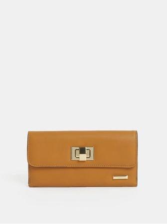 Gionni hořčicová velká peněženka s detaily ve zlaté barvě Cleo