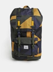 Herschel hořčicovo-černý vzorovaný batoh Little America 25 l