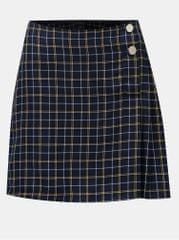 Miss Selfridge tmavě modrá kostkovaná sukně s knoflíky