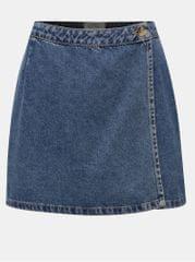 Miss Selfridge modrá džínová zavinovací sukně