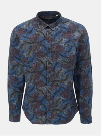 Shine Original vínovo-modrá košile s motivem listů XXL  2b1c0a56d2