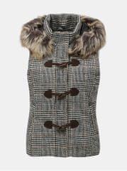 ONLY bílo-hnědá vzorovaná vesta s umělým kožíškem Cala