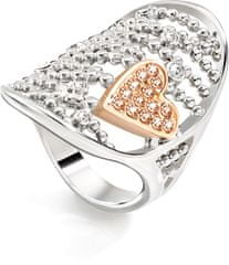 Morellato stalowy pierścień bicolor Cuoremio SADA09