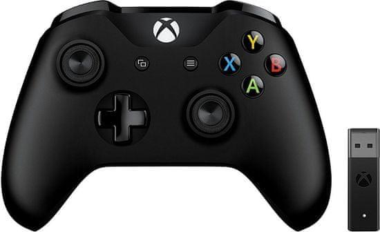 Microsoft Xbox ONE S ovladač, černý + bezdrátový adaptér pro Win 10 v2 (4N7-00002)