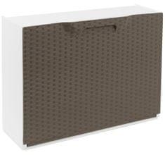 ArtPlast Plastový botník RATTAN taupe/bílý 51x17,3x40 cm