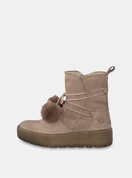 122d9b977d1 Tamaris béžové semišové kotníkové zimní boty na platformě 40