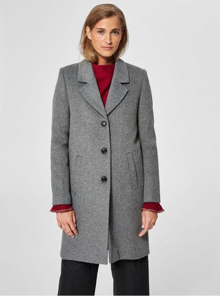 f9f477675f9 Selected Femme šedý vlněný kabát Sasja M
