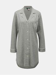 Lauren Ralph Lauren šedá žíhaná noční košile se zapínáním na knoflíky