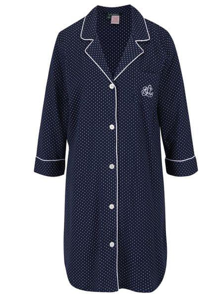 Lauren Ralph Lauren tmavě modrá puntíkovaná noční košile Heritage L
