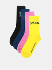 Calvin Klein Jeans sada čtyř párů dámských ponožek v černé, modré, růžové a žluté barvě