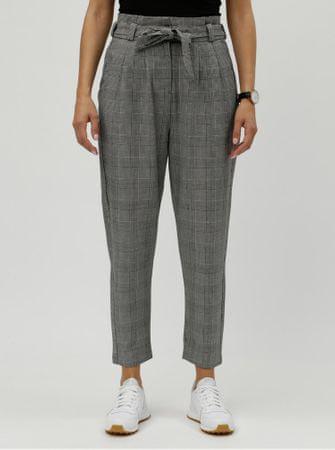 Vero Moda šedé kostkované zkrácené kalhoty s vysokým pasem XS