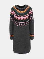 Noisy May tmavě šedé vzorované svetrové šaty Lund ebe094a4dd6