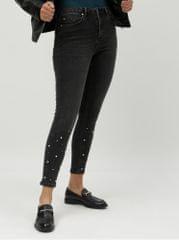 Miss Selfridge šedé zkrácené skinny džíny s ozdobnou aplikací