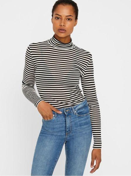 Vero Moda bílo-černé pruhované basic tričko se stojáčkem Vita L dd3298d41d