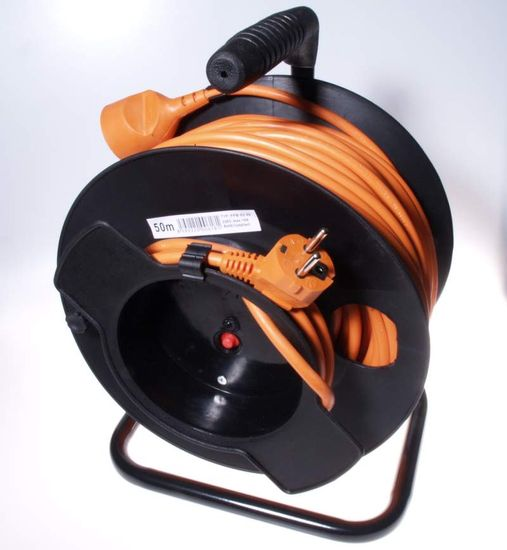 PremiumCord Przedłużacz 230 V, 50 m bęben, przekrój przewodu 3 x 1,5 mm2 ppb-02-50