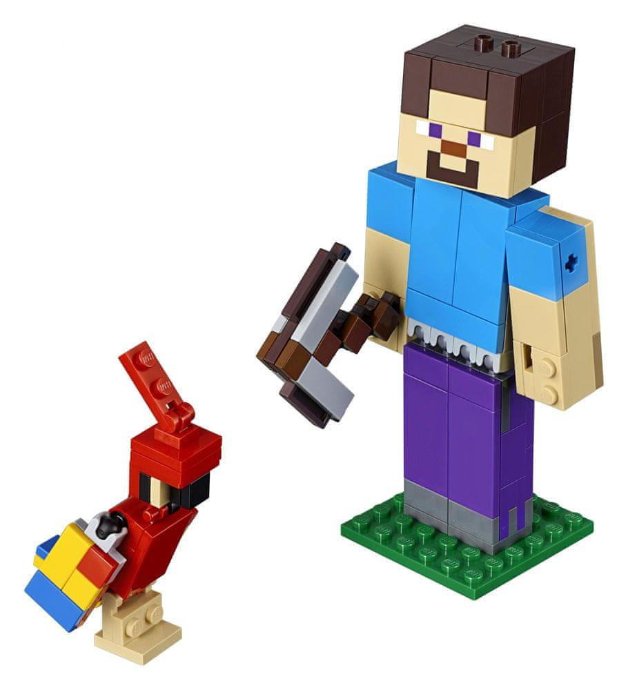 LEGO Minecraft 21148 Minecraft velká figurka: Steve s papouškem